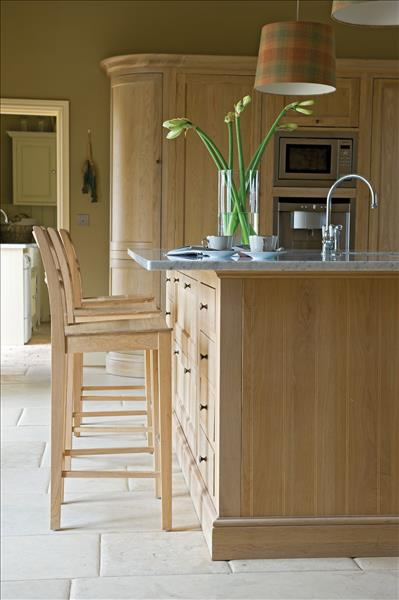 2 Neptune Henley kitchen with breakfast bar and Suffolk oak bar stools
